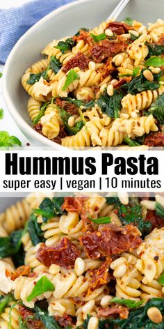If you're looking for a super quick and easy pasta dish, this hummus pasta is perfect for you! It's vegan, ready in just 10 minutes, and it's packed with flavor! It's one of my favorite pasta recipes… Vegan Dinner Recipes, Vegan Dinners, Whole Food Recipes, Cooking Recipes, Healthy Recipes, Veggie Pasta Recipes, Quick Pasta Recipes, Quick Vegetarian Recipes, Snacks Recipes
