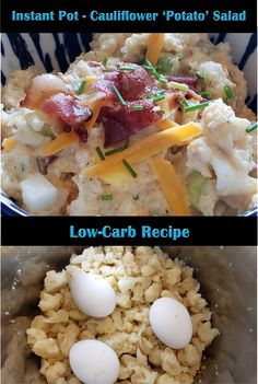 The perfect healthy swap out! Cauliflower 'Potato' Salad - made in the Instant Pot! All the flavour but lower carbs. Cauliflower Potatoes, Cauliflower Recipes, Barbeque Sides, Low Carb Recipes, Healthy Recipes, How To Make Salad, Health And Nutrition, Potato Salad, Food Porn