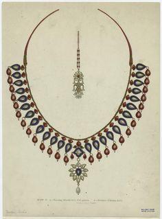 Ear-ring (machhi toli), fish pattern ; Necklace (champa-kali). (1886)