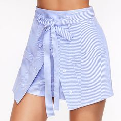 SheIn(sheinside) Striped Buttoned Overlap Front Belted Shorts (£14) ❤ liked on Polyvore featuring shorts, stripe shorts, striped shorts, high-waisted shorts, high waisted shorts and blue striped shorts