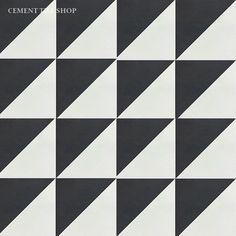 Cement Tile Shop - Encaustic Cement Tile Diagonal Black and White
