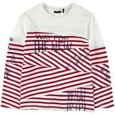 Ikks - Tee-shirt rayé manches longues en maille flammée - Rouge - 115567