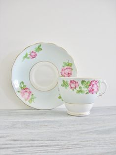 Vintage Colclough Blue Pink and Green Cup and by CocoAndBear, $12.00