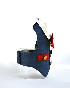 Denim Dog Cat Harness Vest