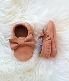 Baby Moccs Peach Suede Leather Moccasins for babies by Knottytots, $38.00