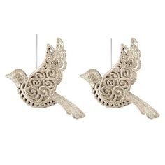 Set of 2 elegant champagne colored birds with glitter and equipped with a hanging cord. Made of unbreakable plastic. Can be perfectly combined with all our other glitter ornaments   It's all about Christmas