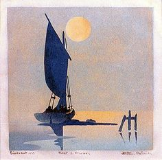 Boat and Moon, 1933 ~ Colour linocut ~ Ethleen Palmer