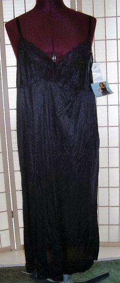 New WT Vassarette Sz 42-48 Bust Black Lace Full Dress Slip Lingerie #Vassarette #FullSlips