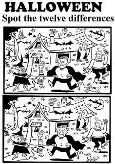 Free Printable Halloween spot the difference Worksheet Pictures for Kids
