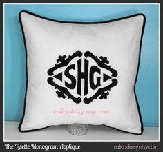 "SET OF 2  The Lisette Applique Framed Monogrammed Pillow Covers 20"" by calicodaisy, $122.00 #sofa #linen"