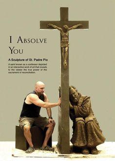 Escultura do confessionário de São Pe. Pio