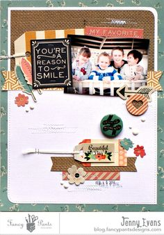 My Favorite layout by Jenny Evans for #fancypantsdesigns using #burlap&bouquets collection.