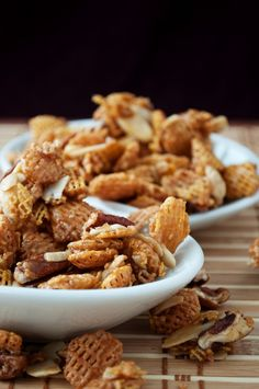 Crispix Mix   (with almonds, pecans and a butter/brown sugar/vanilla/corn syrup coating)  Ummm YES PLEASE!