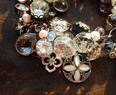Sterling Silver Charm Crystal Bracelet Marcasite by TheJewelsILove