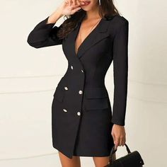 Jamerry Sexy Black Double Breasted Blazer Dress Office Dress Robe Blazer White Dress Plus Size Slim Bodycon Work Wear Dresses Color Black Size XL Blazer Dress, Dress Suits, Sleevless Blazer, Jacket Dress, Blazer Outfits, Sweater Outfits, Coat Dress, Plus Size Dresses, Dresses For Work