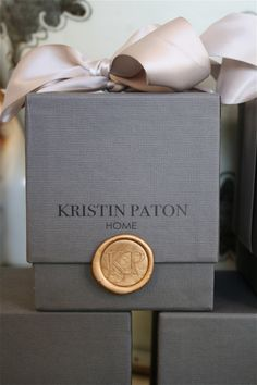 conversation with kristin paton LOVE the simple textured box, the 'wax seal', and thick generous bow.LOVE the simple textured box, the 'wax seal', and thick generous bow. Candle Packaging, Luxury Packaging, Pretty Packaging, Jewelry Packaging, Brand Packaging, Luxury Branding, Branding Design, Packaging Boxes, Product Packaging