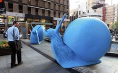 Sydney council has installed 24 snail sculptures, which are made from recycled plastic, in different locations in downtown Sydney, Australia...