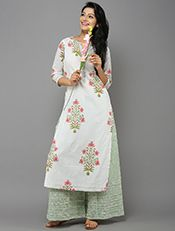 Buy Indigo Chanderi Silk Embroidered Kurta online at Theloom