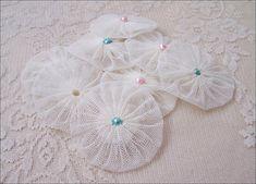 30 Yoyo Embellishments Fabric Yoyos Tulle Yoyos by soAlluring, $8.90