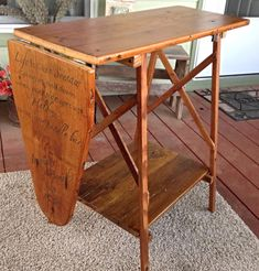 Vintage Wood Ironing Board Repurposed Wooden Shelf Stand With Hand Painted Ironing Board Sam Lyrics Painted Ironing Board, Antique Ironing Boards, Ironing Board Tables, Wood Ironing Boards, Ironing Board Storage, Diy Garden Furniture, Upcycled Furniture, Painted Furniture, Unusual Furniture