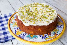 Italian Food Forever » Peach Pistachio Cake With Cream Cheese Frosting
