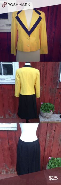 Two piece black and yellow suit Two piece suit includes yellow jacket with black trim and black skirt with front pleat and back zipper. Both items are fully lined Jacobsons Jackets & Coats