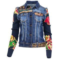 Desigual Damen Jeansjacke Jeans Jacke Used Waschung Strick Ärmel Floral Print in…