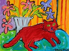 "Stacie Flint-Red Cat With Anemones - 6""x8"""