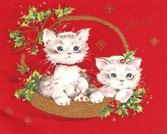 Kittens Basket Holly Vintage Christmas Card
