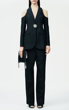 Black Cut Away Single Breasted Jacket by Christopher Kane for Preorder on Moda Operandi