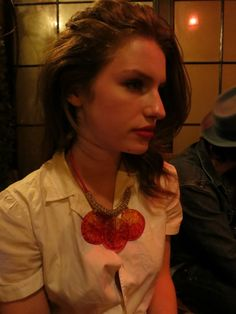 Tali Lennox in my Blood Orange Cocktail necklace at the Bowery Hotel in NYC!!