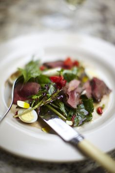 Slow cooked bracken farm pork loin, smoked quail eggs & Dorset truffle salad.