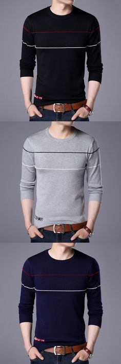 Fall 2017 new men's sweaters Youth leisure fashion round collar stripe long sleeve head men's sweaters Men's Sweaters, Pullover Sweaters, Men's Waistcoat, Men Design, Cotton Sweater, Round Collar, Mens Tees, Lana, Men Casual