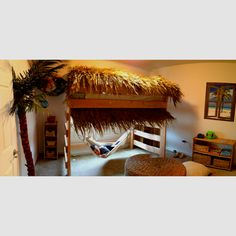 "My son's new room!  He was born in Hawaii so we went with a ""surf shack"" theme."