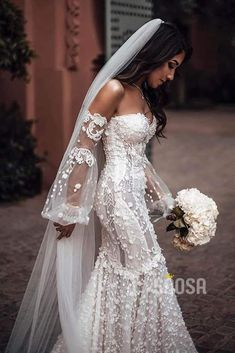 Luxury Lace Mermaid Wedding Dress Off-the-Shoulder Illusion Long Sleeve Bridal Gowns Luxury Lace Mermaid Wedding Dress Off-the-Shoulder Illusion Long Sleev – SQOSA. Lace Wedding Dress With Sleeves, Rustic Wedding Dresses, Lace Mermaid Wedding Dress, Long Sleeve Wedding, Mermaid Dresses, Dream Wedding Dresses, Wedding Attire, Wedding Bride, Bridal Dresses