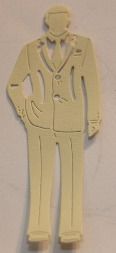 Pale Yellow Tattered Lace Man Die Cut