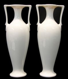 Pair Tall Vintage 1940's Art Deco Classic Ivory Lenox China Porcelain Vases #Lenox
