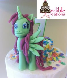 OOAK Trinity Pony  Edible Creations is Proud to Our First My Little Pony Cake made for my sweet daughter Trinity's 7 Birthday  Check us out on Face Book @ Edible Creations or Angela Ediblecreations Ediblecreations@hotmail.ca