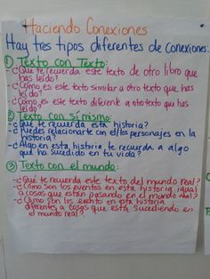 Schema anchor chart for making connections in Spanish