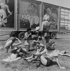 Circus performers relaxing between rehearsals. Photograph by Nina Leen. Sarasota, Florida, USA, March 1949.