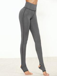 Grey Marled Knit Topstitch Stirrup Leggings