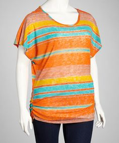 Take a look at this Orange & Blue Stripe Ruched Top - Plus by Buy in America on #zulily today!