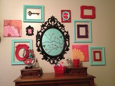 Teal and red empty frames collage