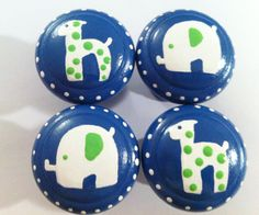 Dresser Knobs  Navy and Lime Green Safari by TheLittleNursery, $24.00