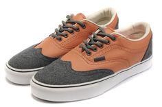 e1b82d8315f Vans Era Wingtip CA Leather Canvas Mens Skate Shoes - Brown Gray