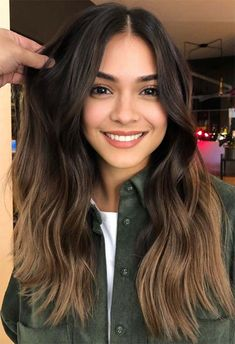 Brunette Hair Color With Highlights, Brown Hair Color Shades, Brown Hair Balayage, Brown Blonde Hair, Hair Color For Black Hair, Hair Color Balayage, Brown Hair Colors, Hair Color For Morena Skin, Brown Hair Olive Skin