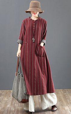 Women Loose Stripe Cotton Long Sleeve Dress - Wedding World Hijab Fashion, Boho Fashion, Fashion Dresses, Kurta Designs, Blouse Designs, Linen Dresses, Casual Dresses, Long Sleeve Cotton Dress, Dress Long