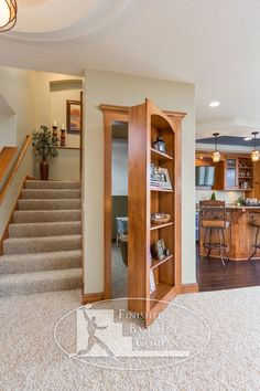 I love hidden rooms! Basement Hidden Bookshelf Storage - traditional - basement - minneapolis - by Finished Basement Company Bookshelf Storage, Basement Storage, Bookcase Door, Basement Stairs, Basement Ideas, Bathroom Storage, Storage Stairs, Bathroom Closet, Basement Bedrooms