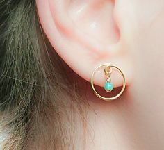Dangle Opal Earrings Gold Filled Studs Minimalist Handmad...