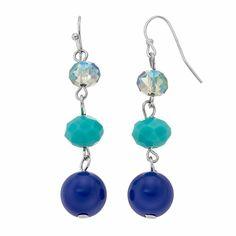 Faceted Bead Nickel Free Linear Drop Earrings, Women's, Blue